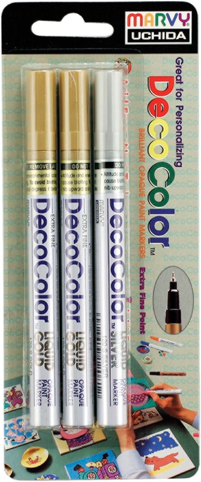 3 Pack-DecoColor Premium Chisel Paint Marker-Silver 350-C-SLV