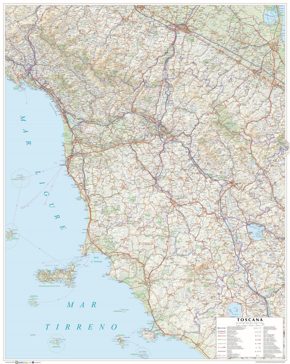 Cartina Toscana Dettagliata Da Stampare.Amazon It Toscana Carta Stradale Della Regione 1 250 000 Carta Murale Plastificata Stesa Cm 86x108 Libri