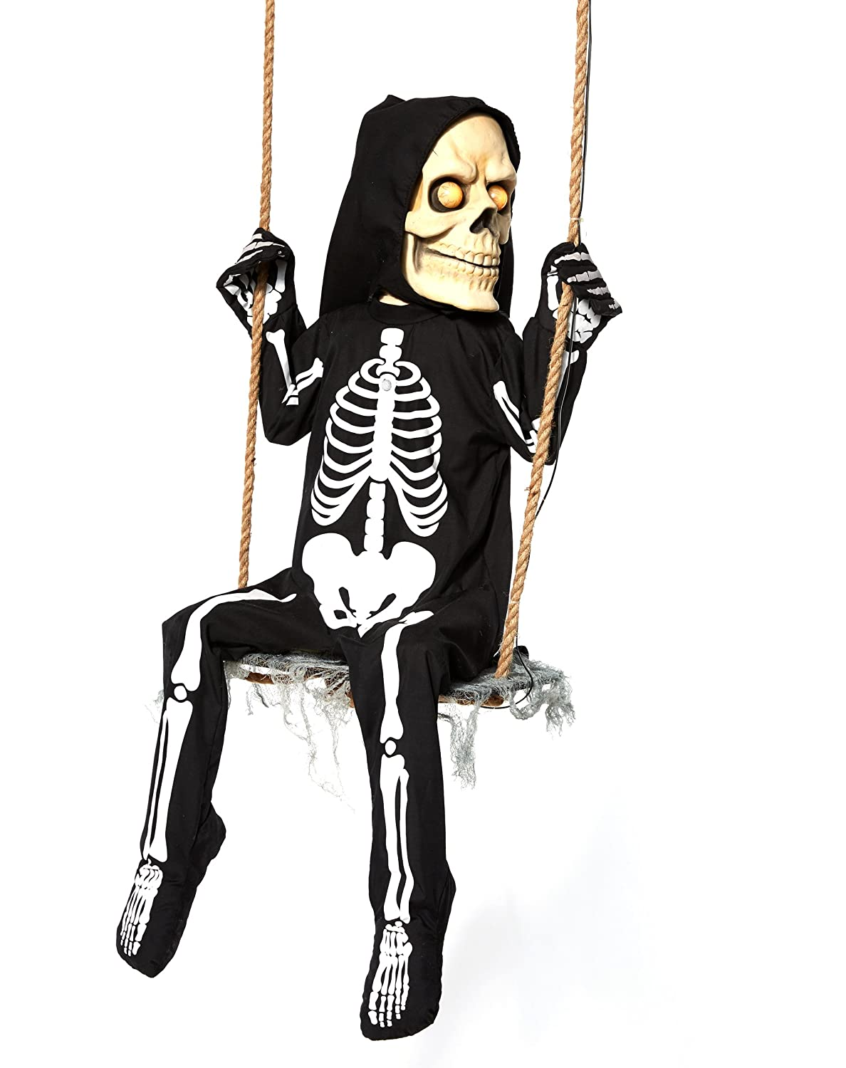 amazoncom spirit halloween 3 ft swinging skeleton boy animatronics decorations toys games - Spirit Halloween Decorations
