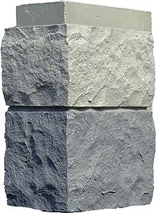 NextStone Polyurethane Faux Stone Interlocking Outside Corner – Random Rock – Tri Gray (4 Corners per Box)