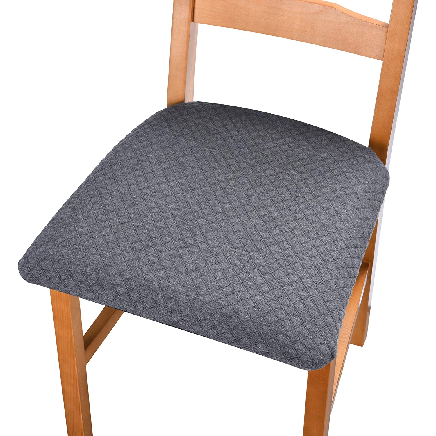 Stratissu Premium Dining Room Chair Seat Covers - Works for Kitchen, Bar, Office Computer Desk or Table Chairs, Cushion Cover - Resistent and Washable with Strings for Non Slip - Dark Gray (Set of 4)