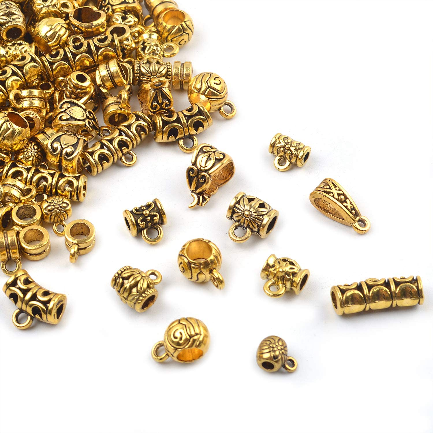 About 130-150pcs BronaGrand 100g Mixed Antique Gold Bail Beads,Spacer Bead,Bail Tube Beads,Bracelet Charms,Necklace Pendants for Jewelry and Craft Making