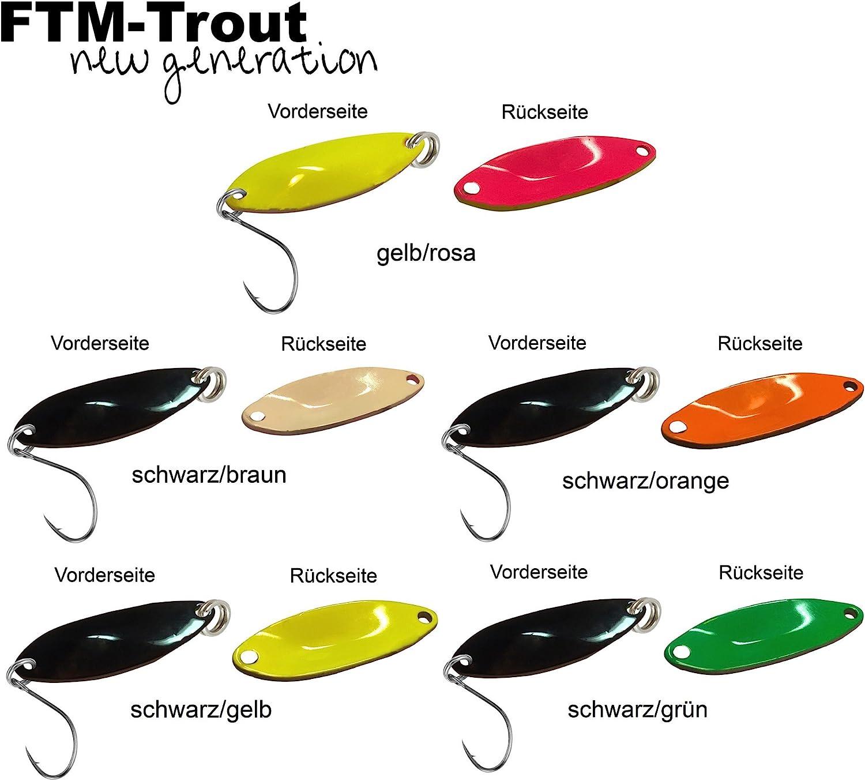 FTM Trout Spoon Forellenblinker Rumba 801 3,6g UV Orange Gelb Schwarz 5200801 UL