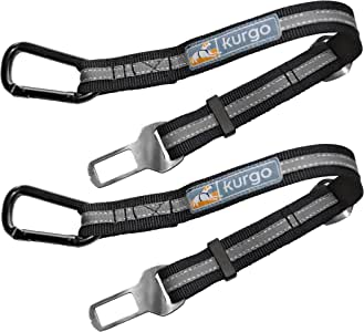Kurgo Direct to Seatbelt Tether for Dogs | Universal Car Seat Belt for Pets | Adjustable Dog Safety Belt | Carabiner Clip | Use with Any Pet Harness (2 Pack Carabiner Clip, Grey)