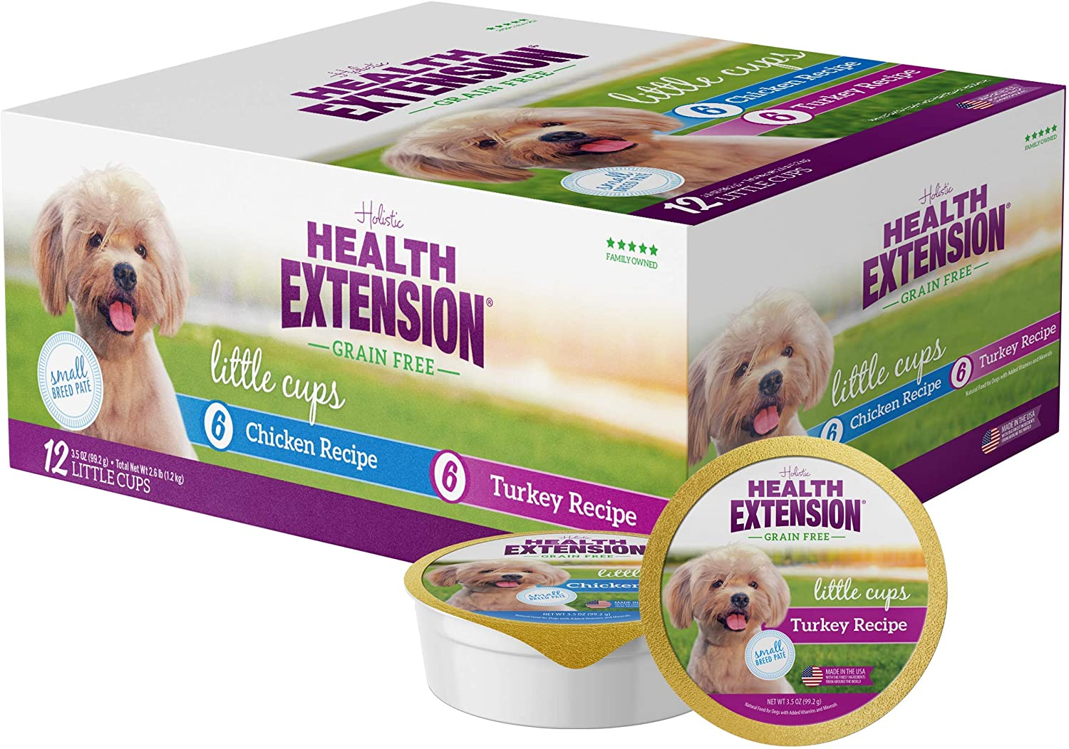 Health Extension Little Cups Turkey & Chicken Small Breed Can Variety Pack