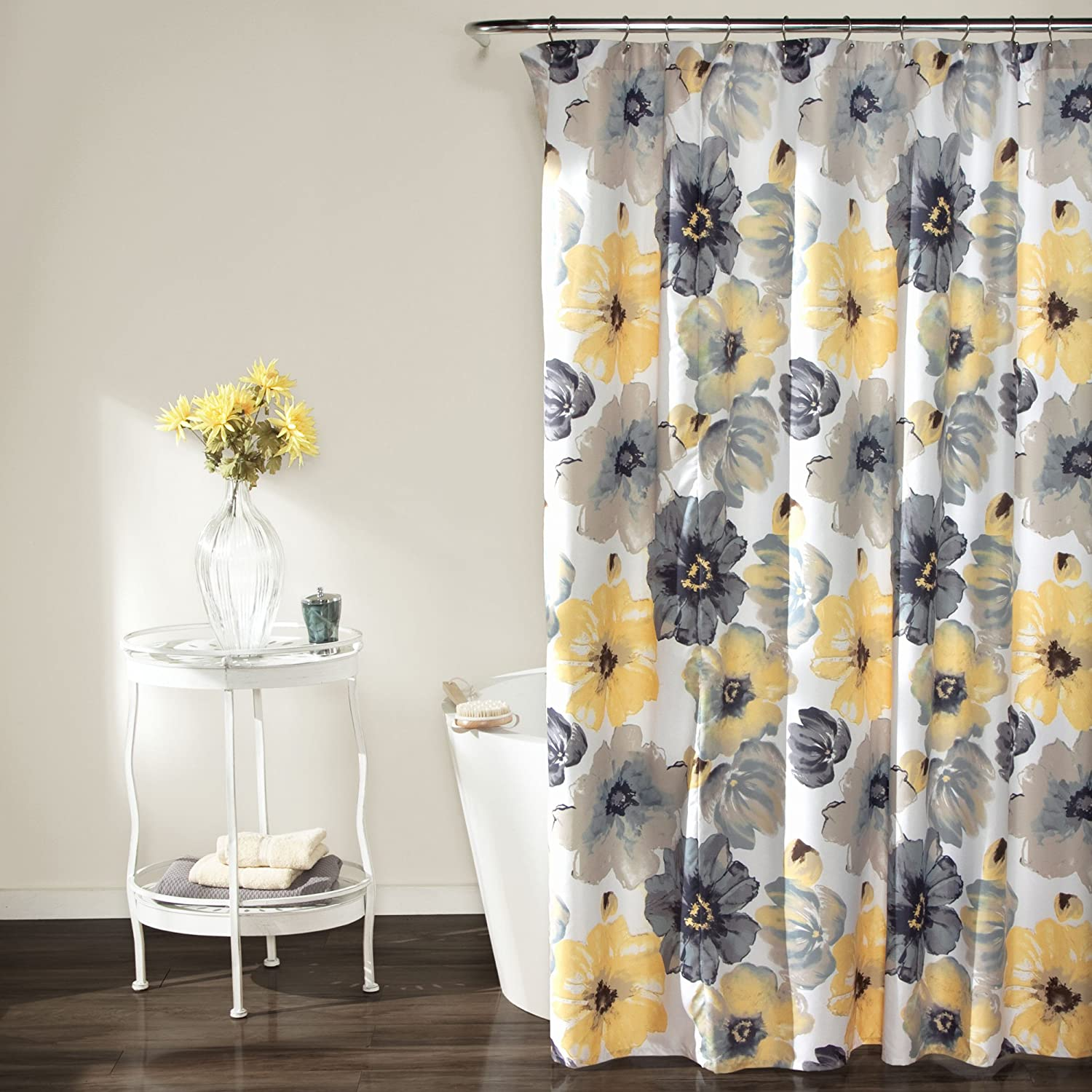 "Lush Decor Leah Shower Curtain - Bathroom Flower Floral Large Blooms Fabric Print Design, 72"" x 72"", Yellow/Gray: Home & Kitchen"