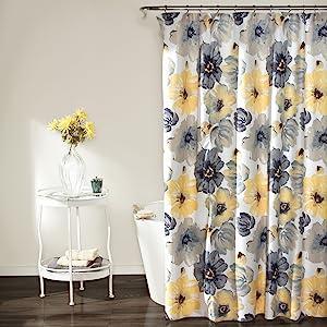 "Lush Decor Leah Shower Curtain - Bathroom Flower Floral Large Blooms Fabric Print Design 72"" x 72"" Yellow/Gray"