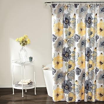 Lush Decor Leah Shower Curtain 72 Inches X Yellow Gray