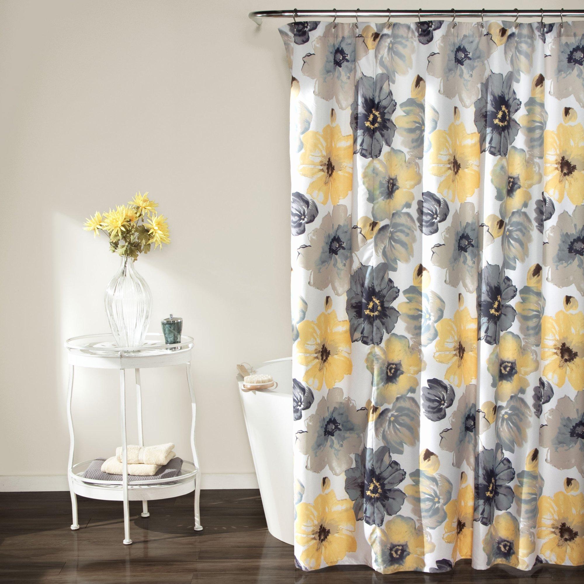 Lush Decor Leah Shower Curtain - Bathroom Flower Floral Large Blooms Fabric Print Design, 72'' x 72'', Yellow/Gray