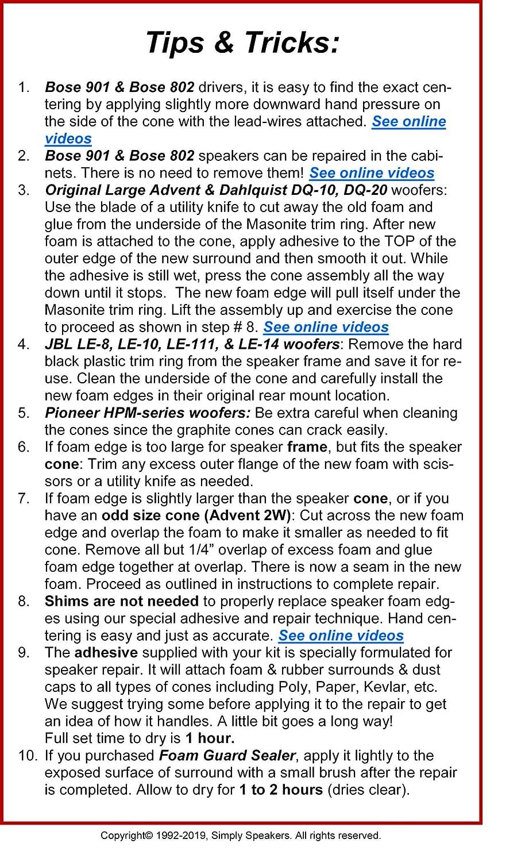 Pair FSK-8 Simply Speakers 8 Inch Foam Speaker Repair Kit Compatible with JBL 116A 116H