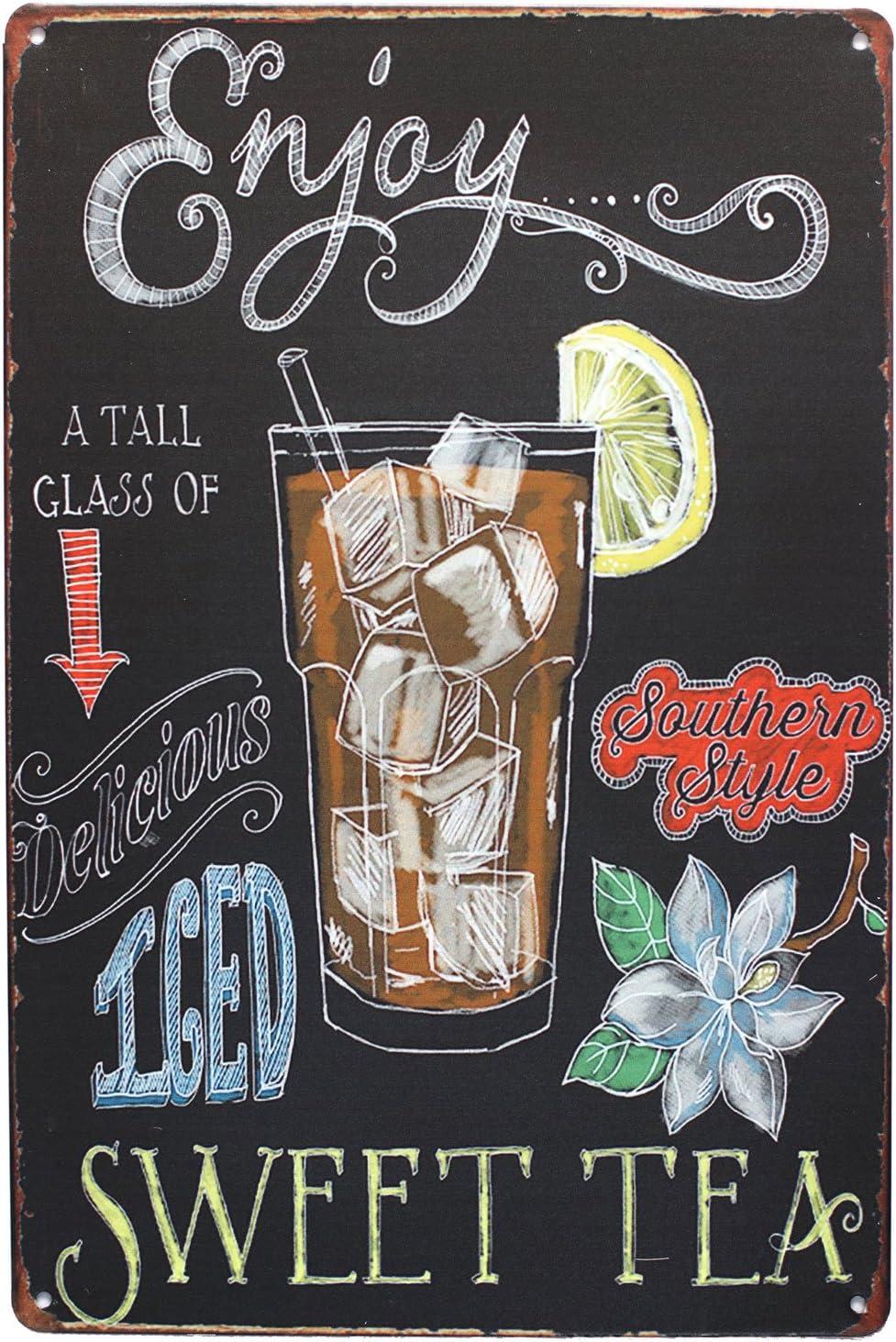 UOOPAI Enjoy Iced Sweet Tea Vintage Metal Sign