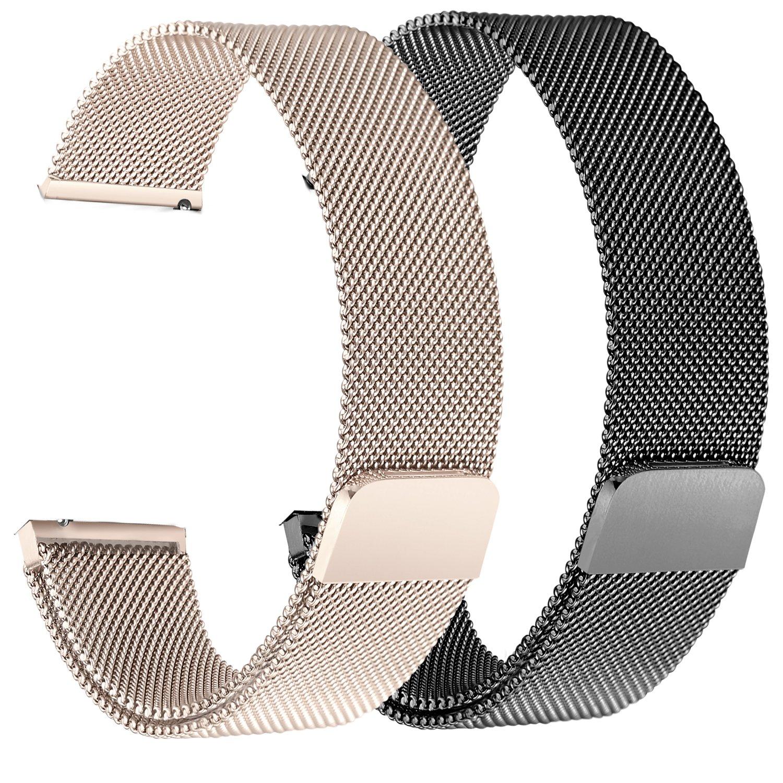 bayite for Fitbit Versaバンド2パック、ミラネーゼループメッシュスポーツバンドステンレススチールメタル磁気クラスプ留めリストバンドfor Fitbit Versa Smartwatchメンズレディース 6.7''-8.1''|2 Pack: Black + Champagne 2 Pack: Black + Champagne 6.7''-8.1'' B07BN8C649