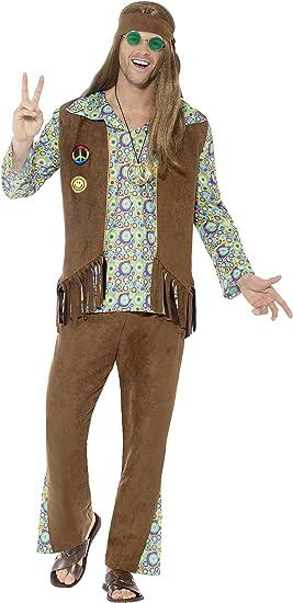 SmiffyS 43126M Disfraz De Hippie Con Pantalones Camiseta Chaleco ...