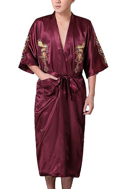 JTC Batas De Baño De Seda Pijama De Seda Para Hombres Color Vino Tinto: Amazon.es: Zapatos y complementos