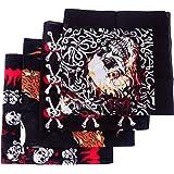 HDE 4-Pack Bandana Flaming Skull Motorcycle Biker Handkerchief Head Wrap Doo Rag