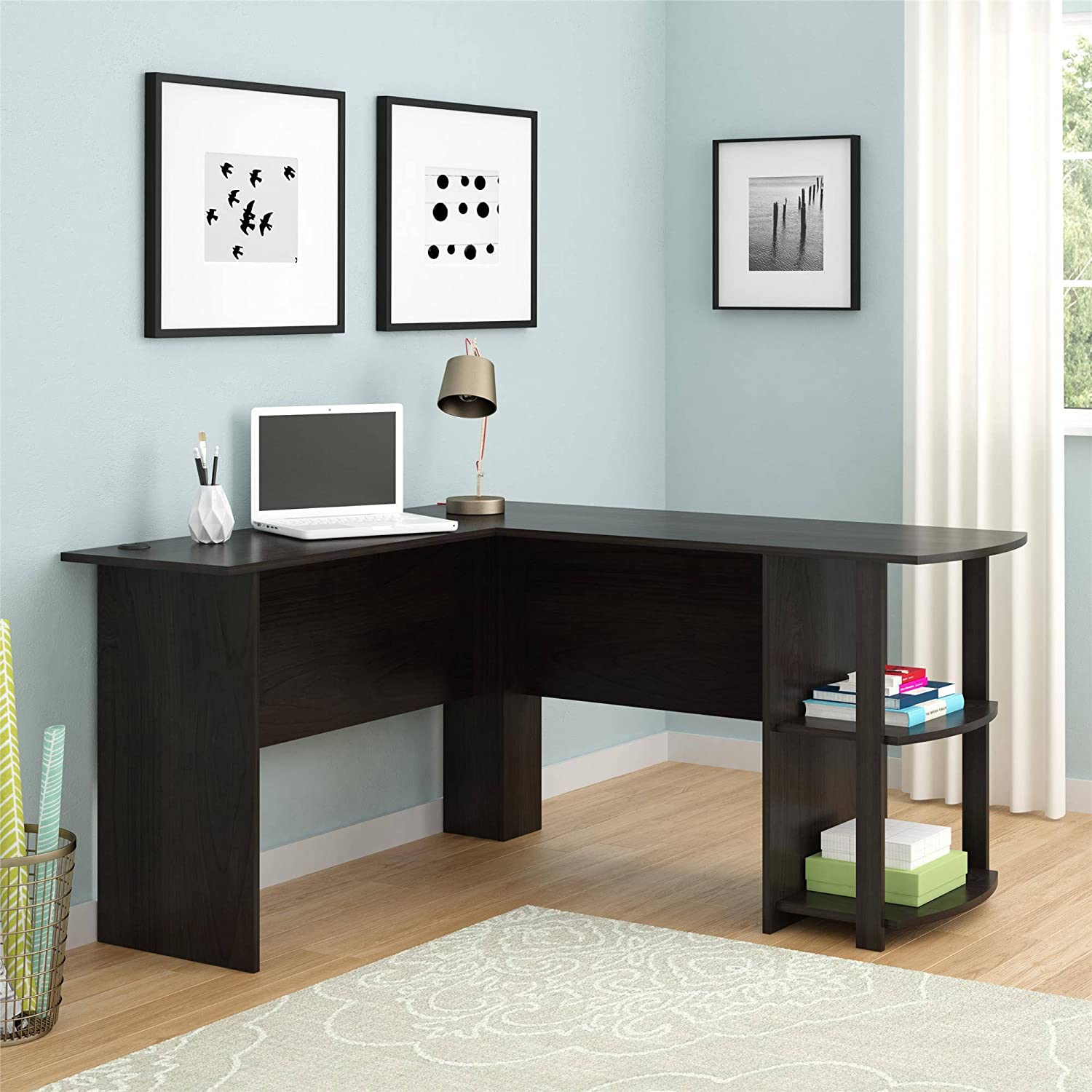Wooden L-Shaped Desk with Large Workspace, with Side Storage for Easy Access of Materials, for Office or Home Use, Multiple Finishes L 53.62 x W 51.31 x H 28.31 in Dark Russet Cherry