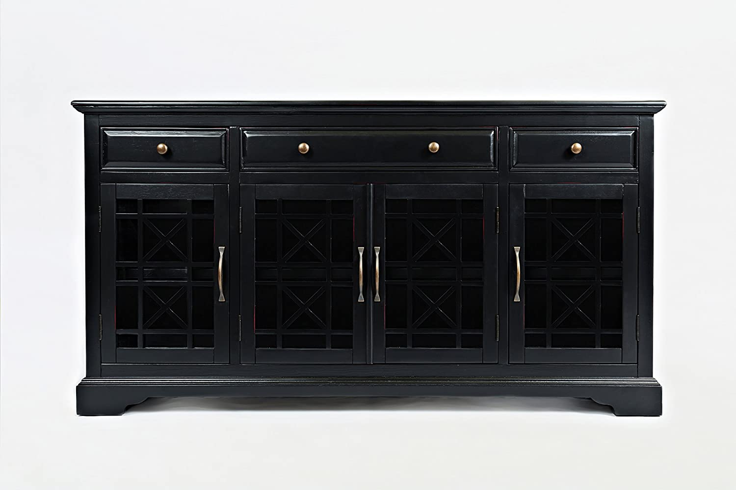 """Benzara BM184047 Transitional Style Wooden 60"""" Media Unit with Three Drawers, Black"""