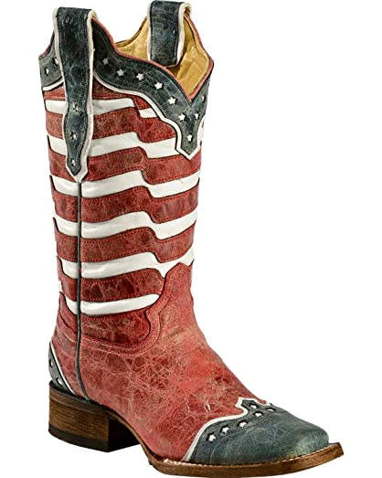 Women's American Flag Distressed Cowgirl Boot Square Toe - A2850