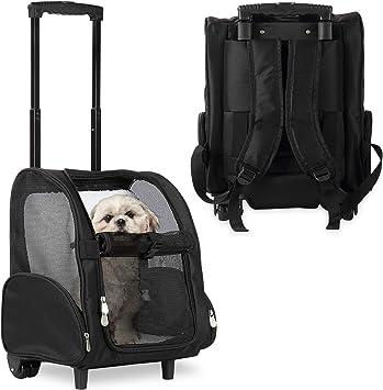 KOPEKS Mochila Grande de Viaje con Ruedas para Perros, Gatos, Mascotas - Portador de Viaje Transportador L- Negro: Amazon.es: Productos para mascotas