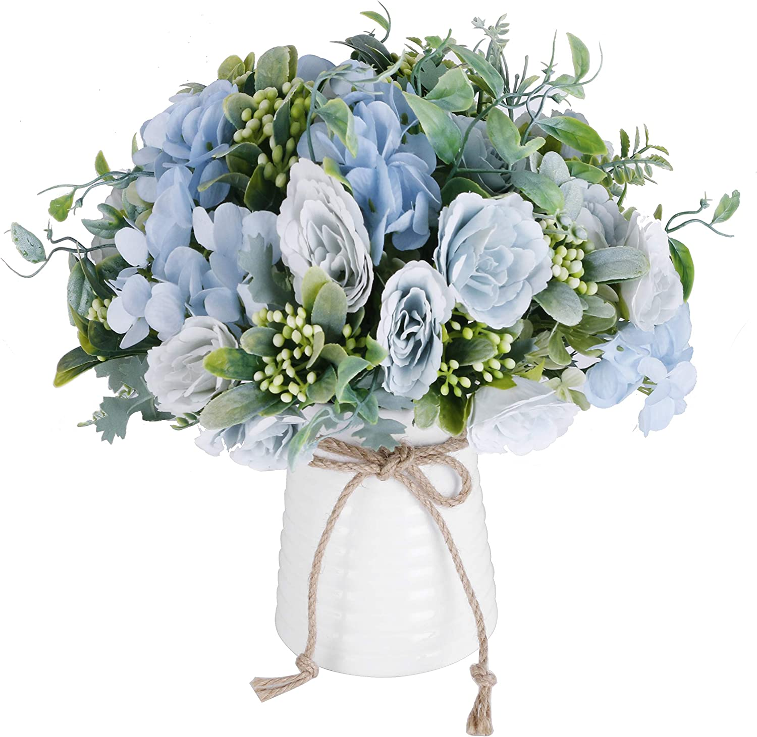 Naweida Artificial Flowers With Vase Faux Flower Arrangements For Table Decor Table Centerpieces For Dining Room Blue Home Kitchen
