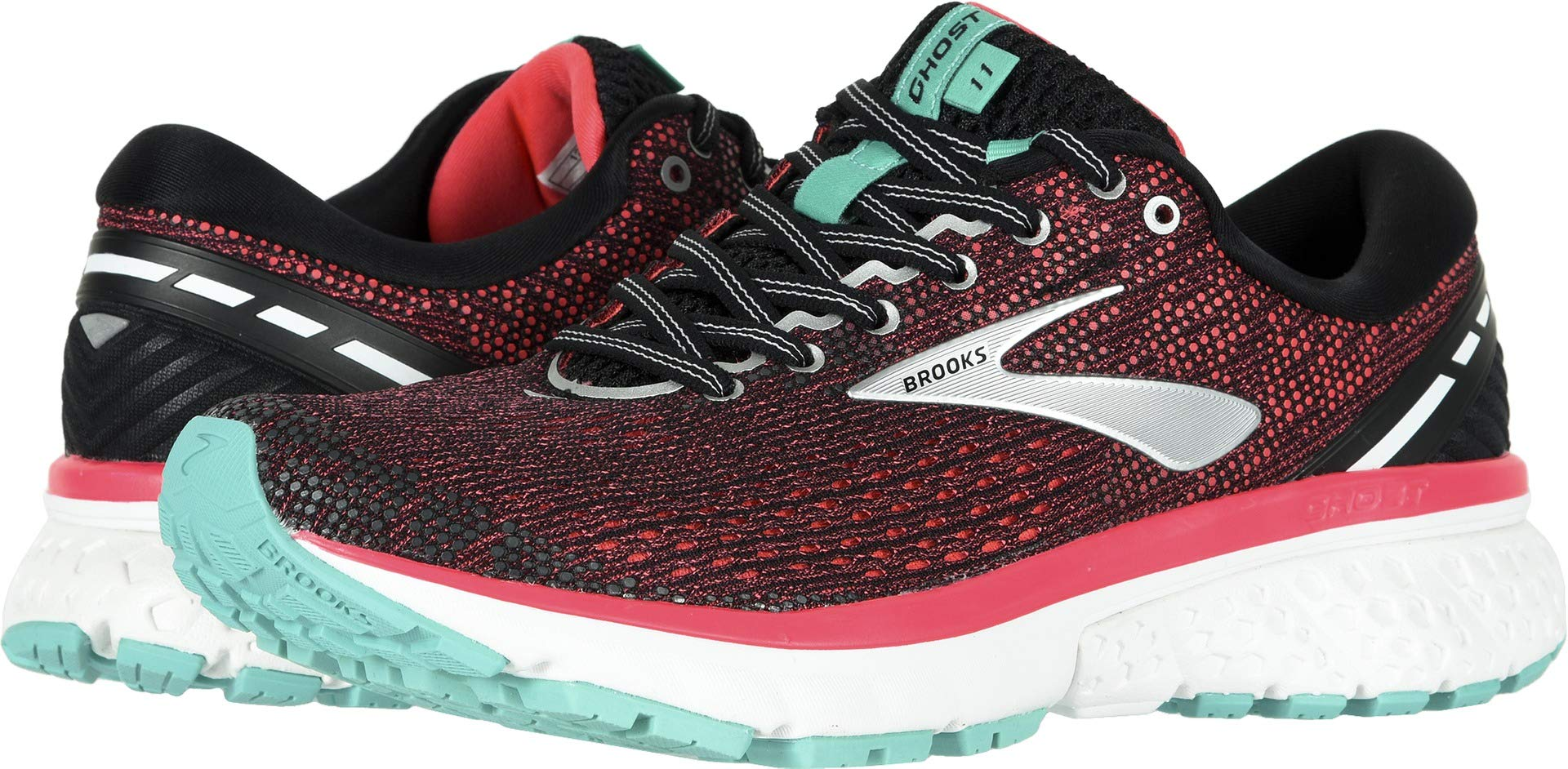 Brooks Women's Ghost 11 Black/Pink/Aqua 8 B US