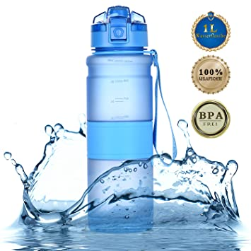 Amazon.com: tomppow Tritan 32oz sin BPA botella de agua ...