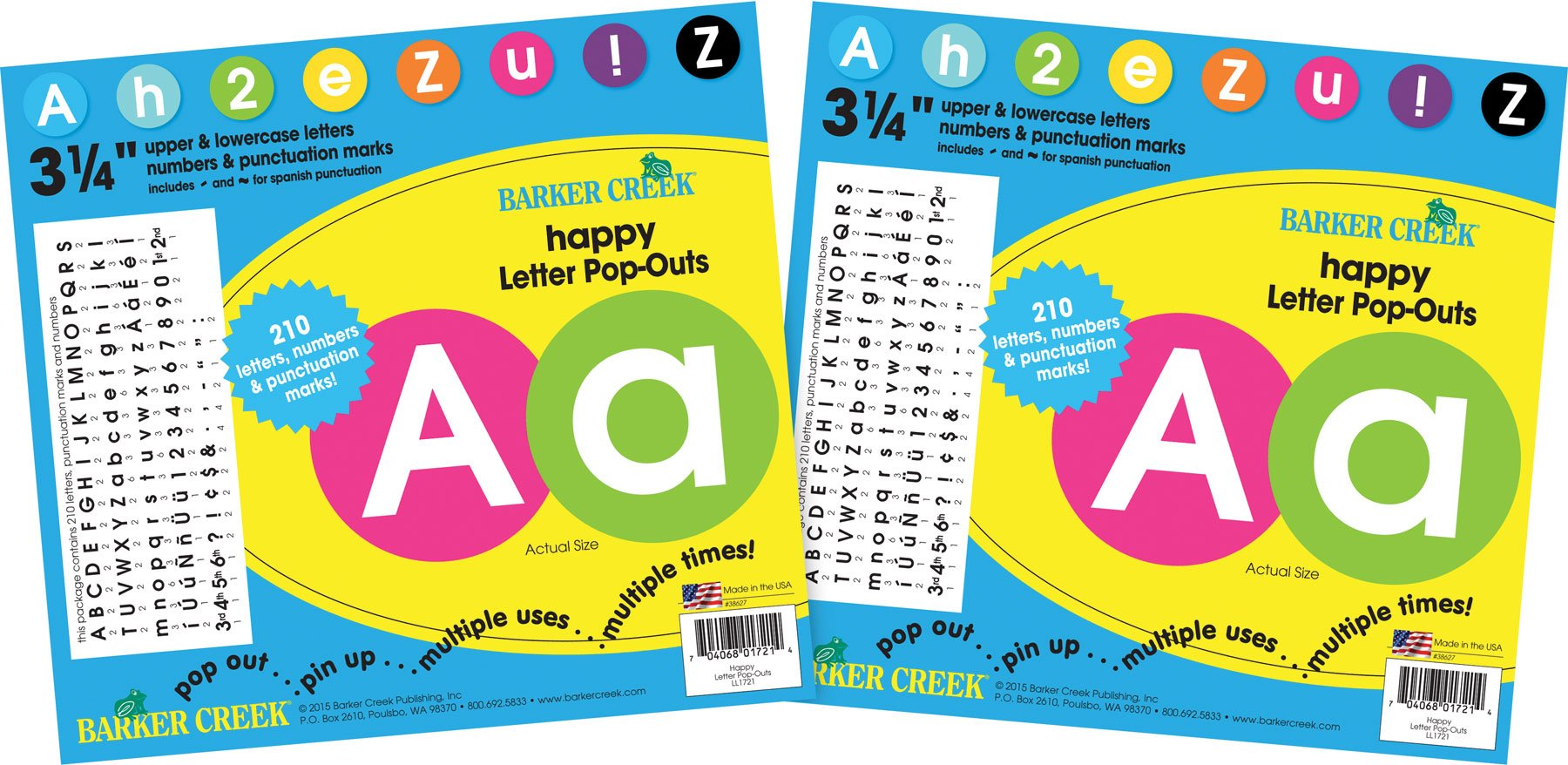 Barker Creek 3 1/4'' Circle Letter Pop-Outs 2 Pack - Happy (BC3644) by BARKER CREEK