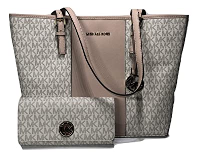 9b69fbec7d77 MICHAEL Michael Kors Jet Set Travel MD Center Stripe Carryall Tote bundled  with Michael Kors Fulton