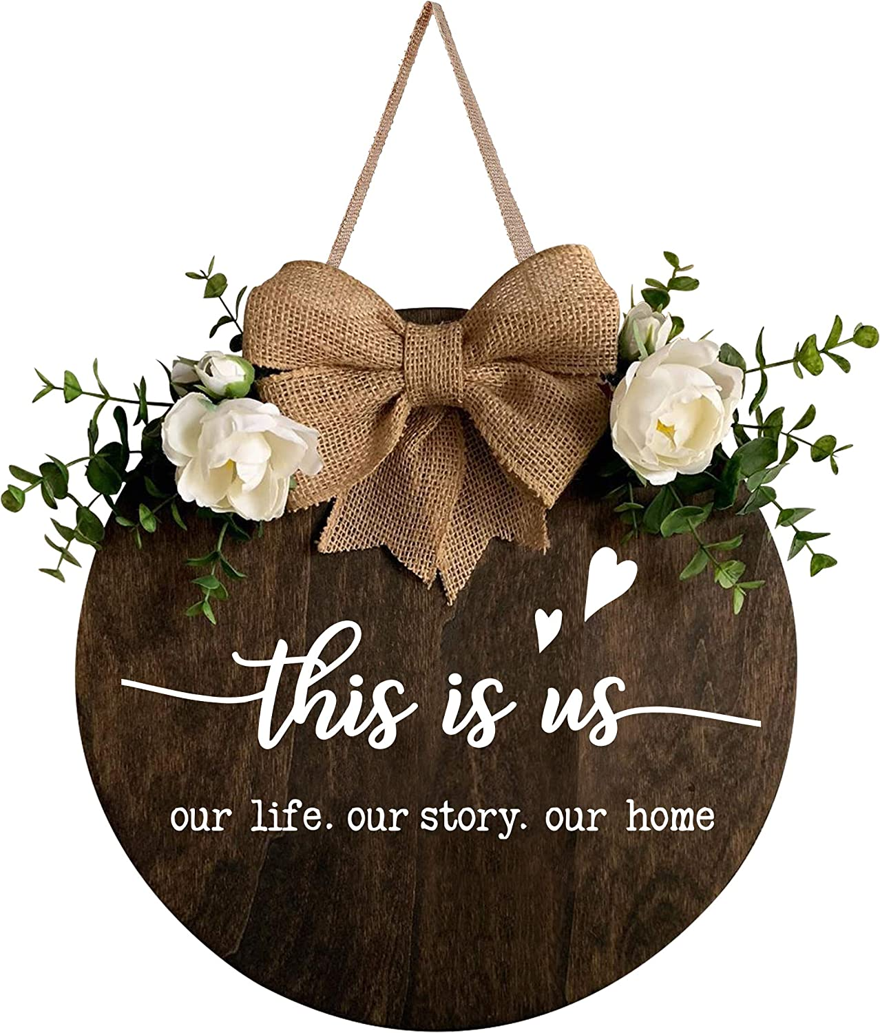 MayAvenue This is Us Wreaths Decor Sign Front Door, Round Wood Hanging Sign with Ribbon Bow and Artificial Green Leaves, Farmhouse Porch Decorations for Home Thanksgiving, Brown