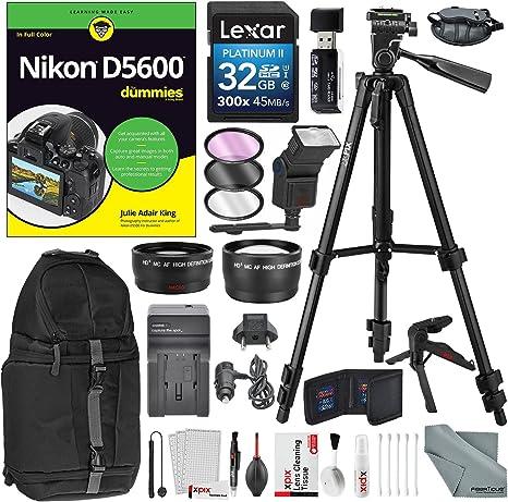 Nikon D5600 para Dummies + Deluxe Accessory Bundle w/xpix trípodes ...