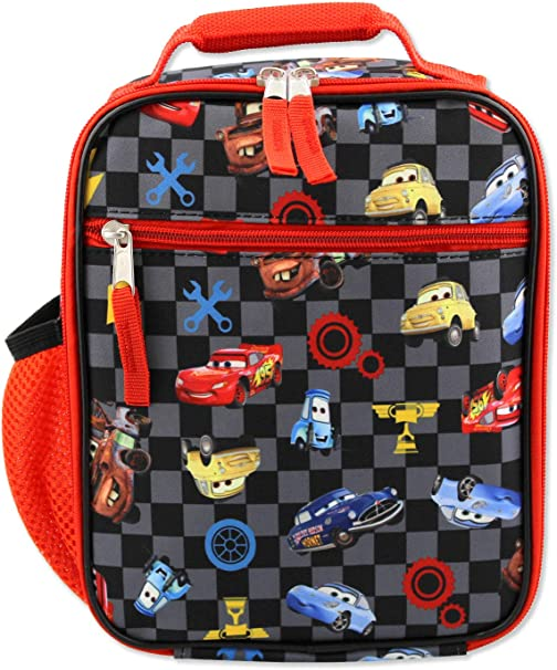 Disney Cars Lighting McQueen Boys Soft Insulated School Lunch Box One Size, Black//Red