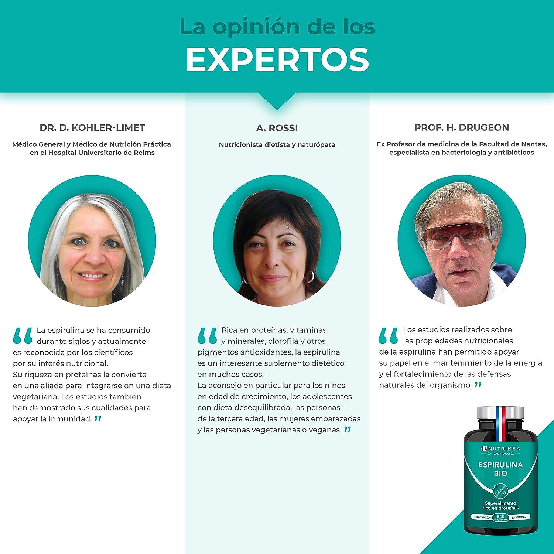 Espirulina Ecológica Suministro para 6 Meses | 540 Comprimidos de 500mg | 100% BIO Vegano | Ideal Deporte Musculación Detox Antioxidante Subir ...