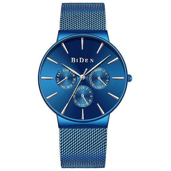 8f3d7fd780c8 Reloj para Hombre Azul Profundo Relojes de Pulsera Delgados para Hombres  Banda Impermeable Del Acero Inoxidable Del Vestido de La Moda  Amazon.es   Relojes