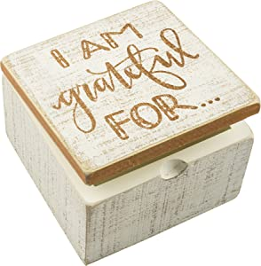 Primitives by Kathy Hinged Box, 4 x 4-Inch, I Am Grateful for