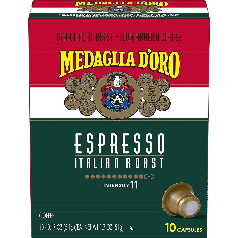Medaglia D'Oro Dark Italian Roast Espresso Coffee, 40 Count Capsules for Espresso Machines, 11 Intensity