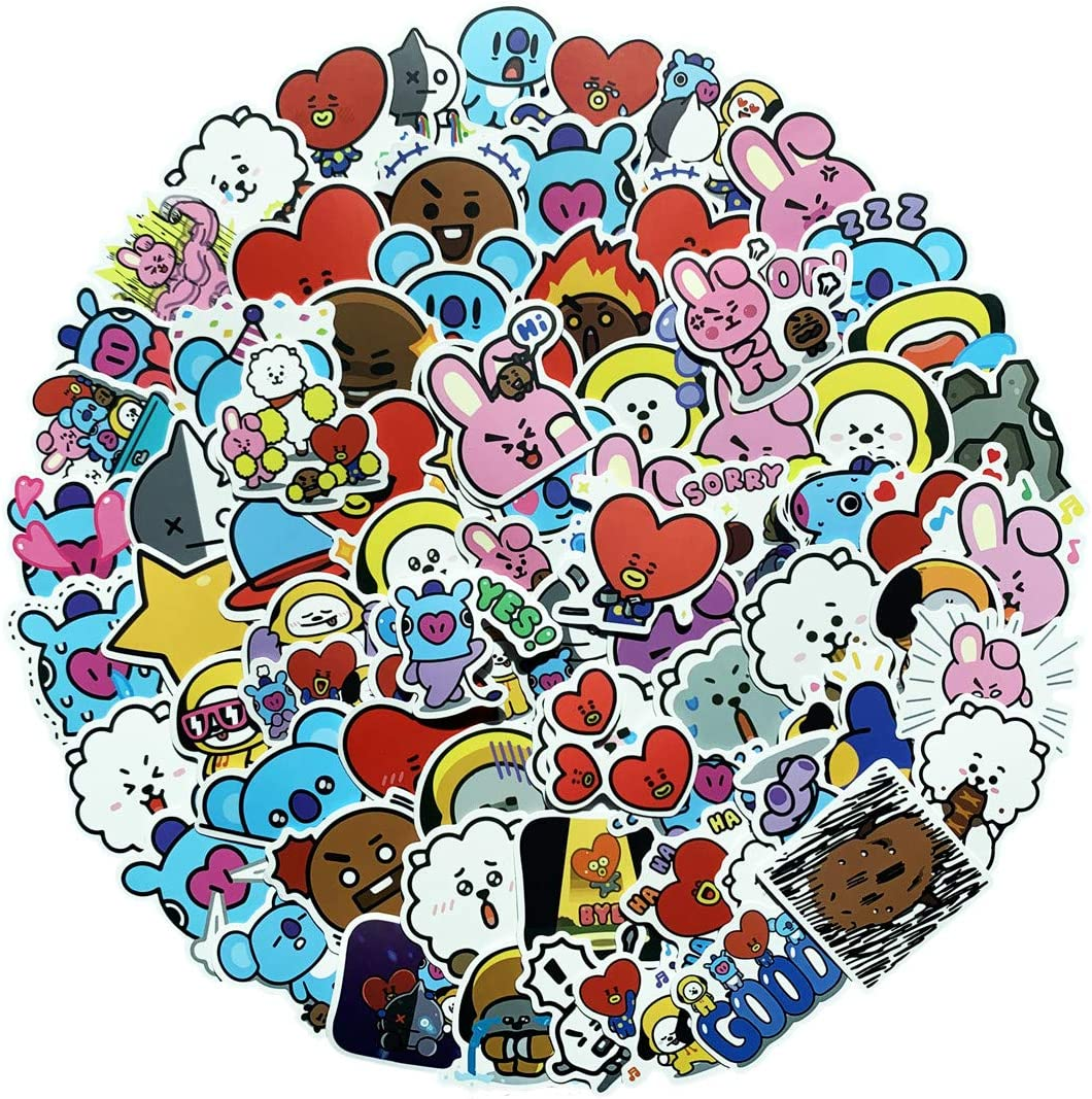 king maoshen 80 PCS BTS Waterproof Cute Cartoon Stickers Set for Decorating--for Water Bottles Skateboard Laptop Mackbook,Notebook (BTS)