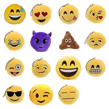 Exclusivo Mini Emoji cojín de peluche Collection juego de 15 Emoji Llavero de peluche regalo bolso