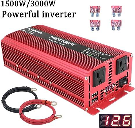 USB Electronic Converter 1500-3000Watt DC 12V To AC 110V Power Inverter Charger