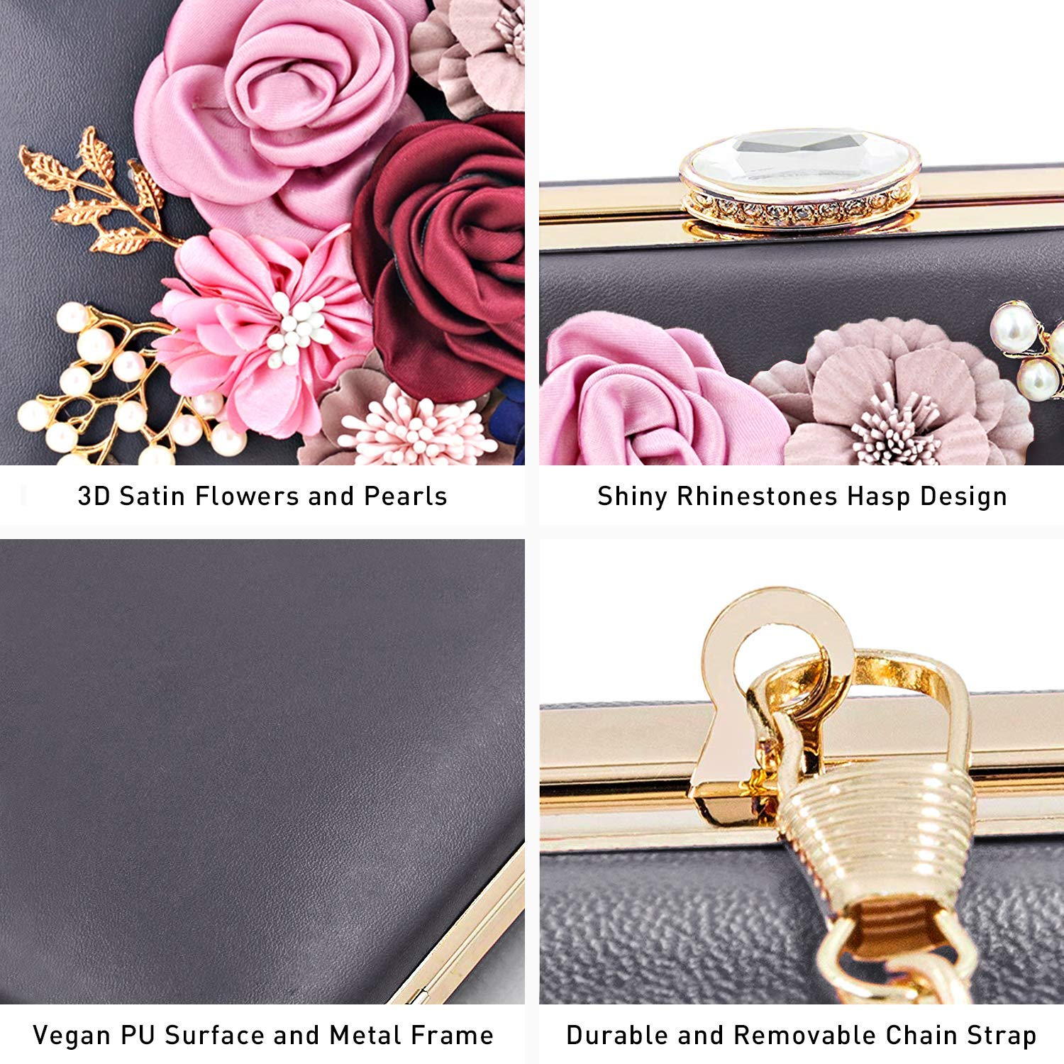 Women Flower Clutch Handbags Evening Bag Prom Party Wedding Cocktail Clutch Purse with Pearls Beaded
