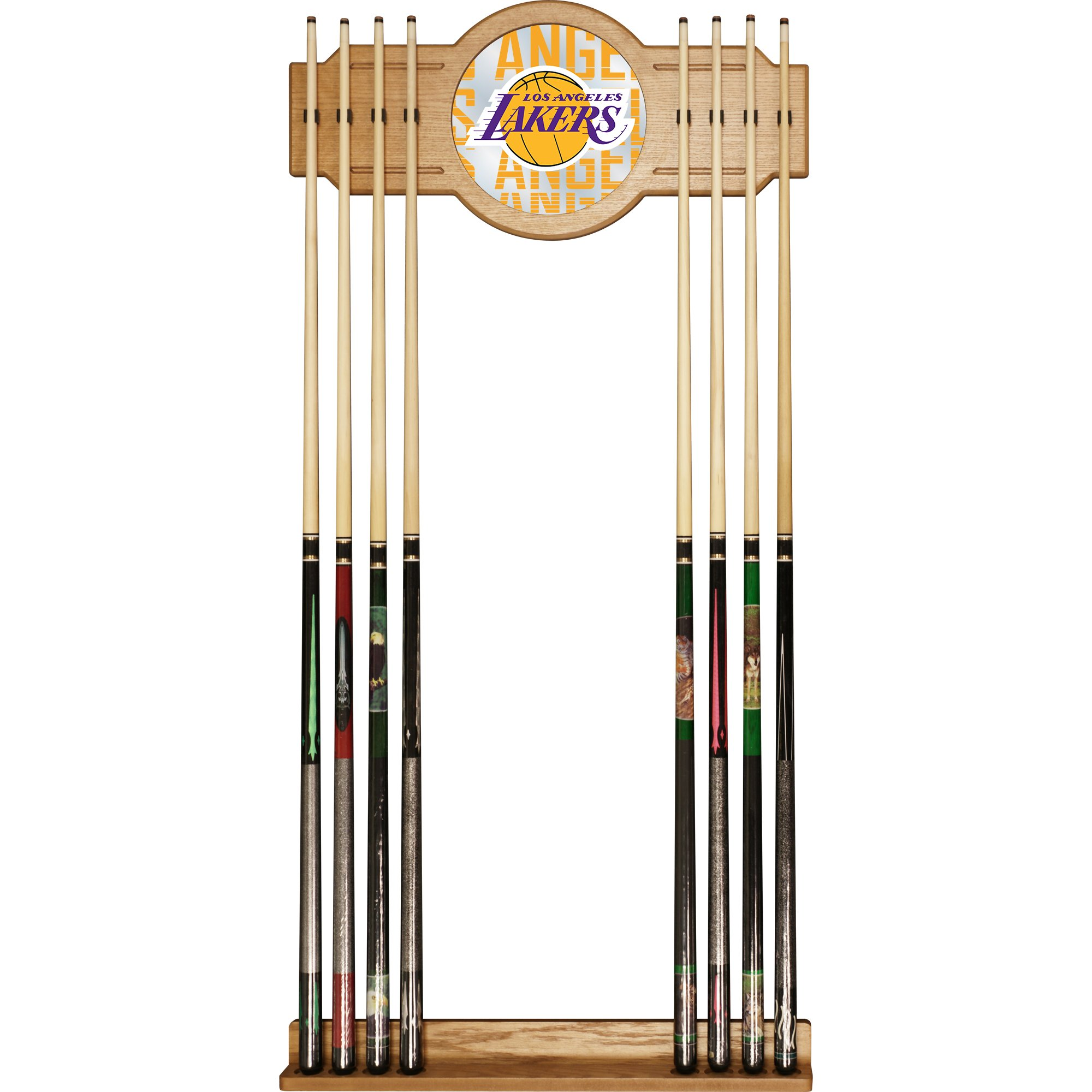 Trademark Gameroom NBA6000-LAL3 NBA Cue Rack with Mirror - City - Los Angeles Lakers