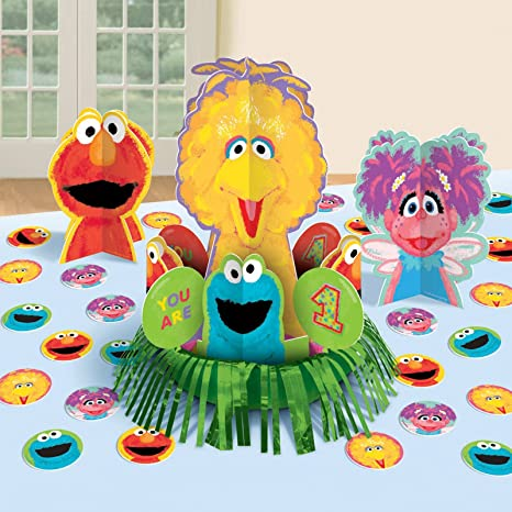 Incredible Amscan Sesame Street 1St Birthday Party Table Decorating Kit 4 Piece Multicolor One Size Interior Design Ideas Tzicisoteloinfo