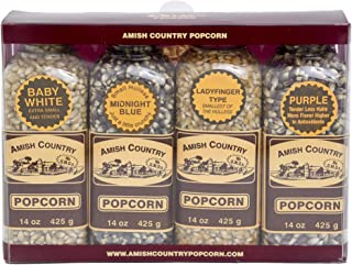 product image for Amish Country Popcorn | Popcorn Kernel Variety Set | 4 - 14 oz Bottles | Baby White, Midnight Blue, Ladyfinger, Purple Popcorn Kernels | Old Fashioned with Recipe Guide (4 - 14 oz Bottles)