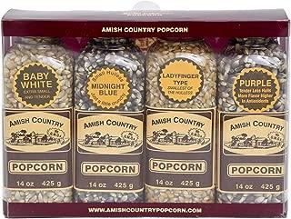 product image for Amish Country Popcorn | Popcorn Kernel Variety Set | 4 - 14 oz Bottles | Baby White, Midnight Blue, Ladyfinger, Purple Popcorn Kernels | Old Fashioned with Recipe Guide (4 - 14 oz Bottles)