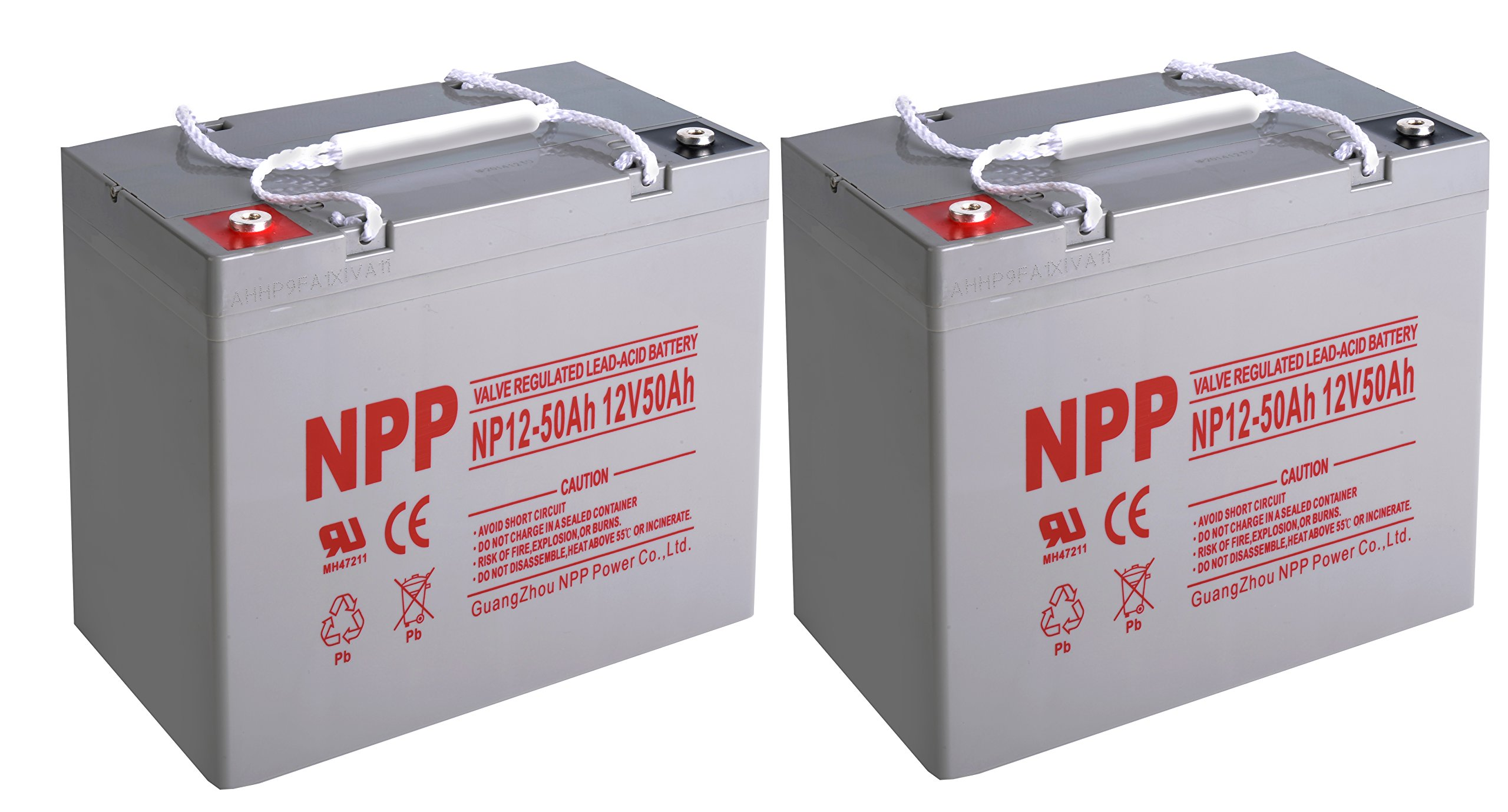 NPP 12V 50 Amp NP12 50Ah Rechargeable Lead Acid Battery With Button Style Terminals / Pack 2