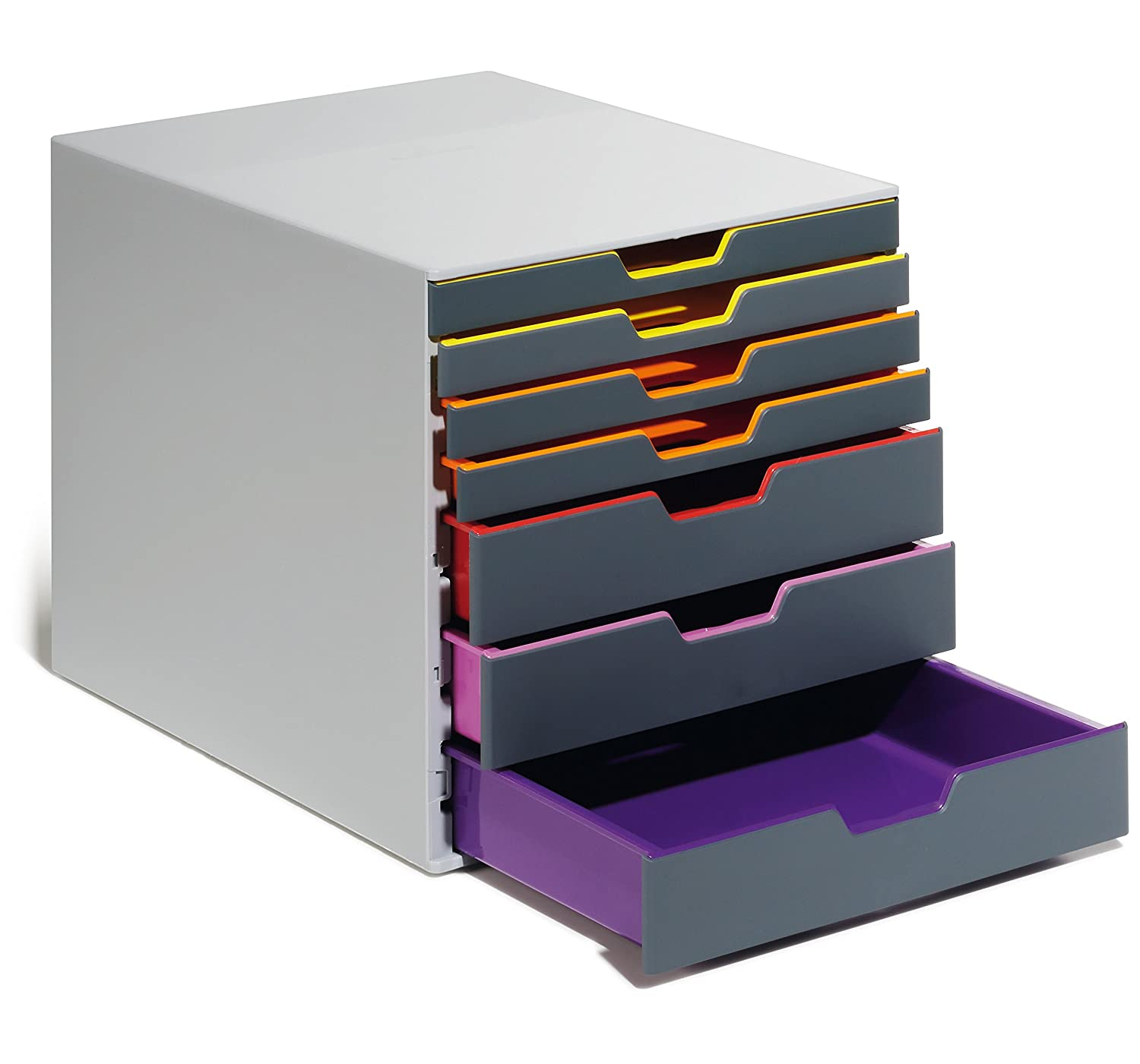 DURABLE Desktop Drawer Organizer Gray /& Multicolored VARICOLOR 7 Compartments with Removable Labels 760727 11 w x 14 d x 11.375 h