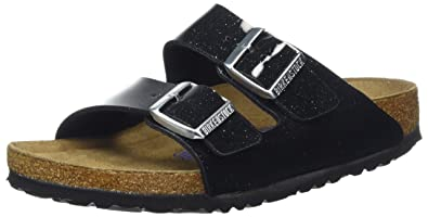 BIRKENSTOCK Classic Damen Arizona Birko-Flor Softfootbed Plateausandalen, Schwarz (Magic Galaxy Black), 36 EU