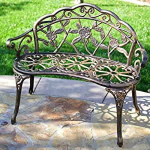 """Garden Benches for Outdoors, 39.7"""" Antique Designed Metal Rose Carving Front Porch Benches, Cast Iron Cast Bronze Frame Antique Finish, Durable Patio Park Decor Leisure Bench for 2 Person Seat"""