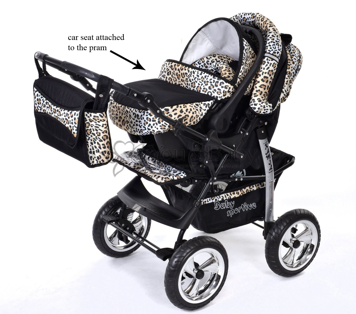 3-in-1 Travel System with Baby Pram, Car Seat, Pushchair ...