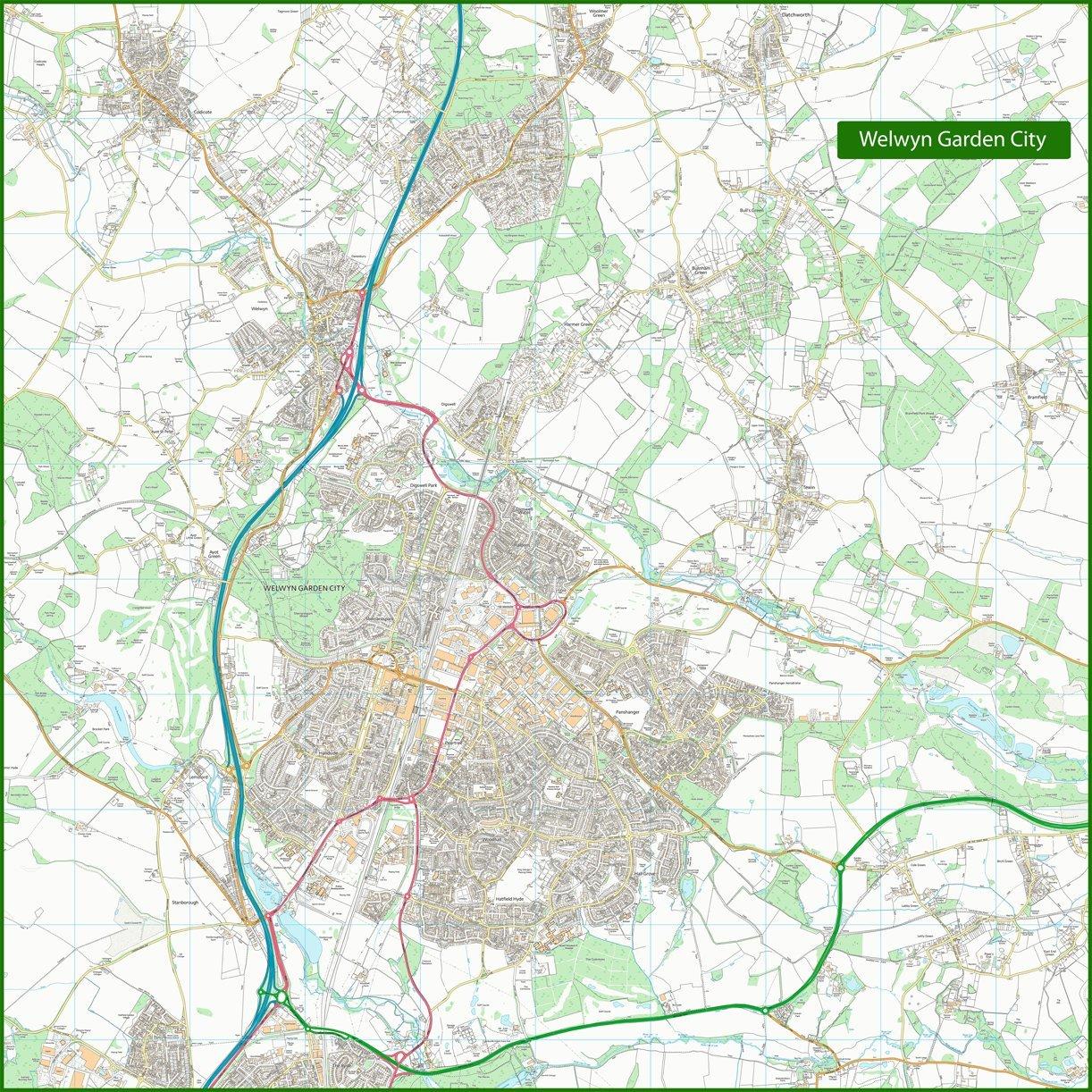 WELWYN Garden City calle mapa – x 125 x – 125 cm 6ded40