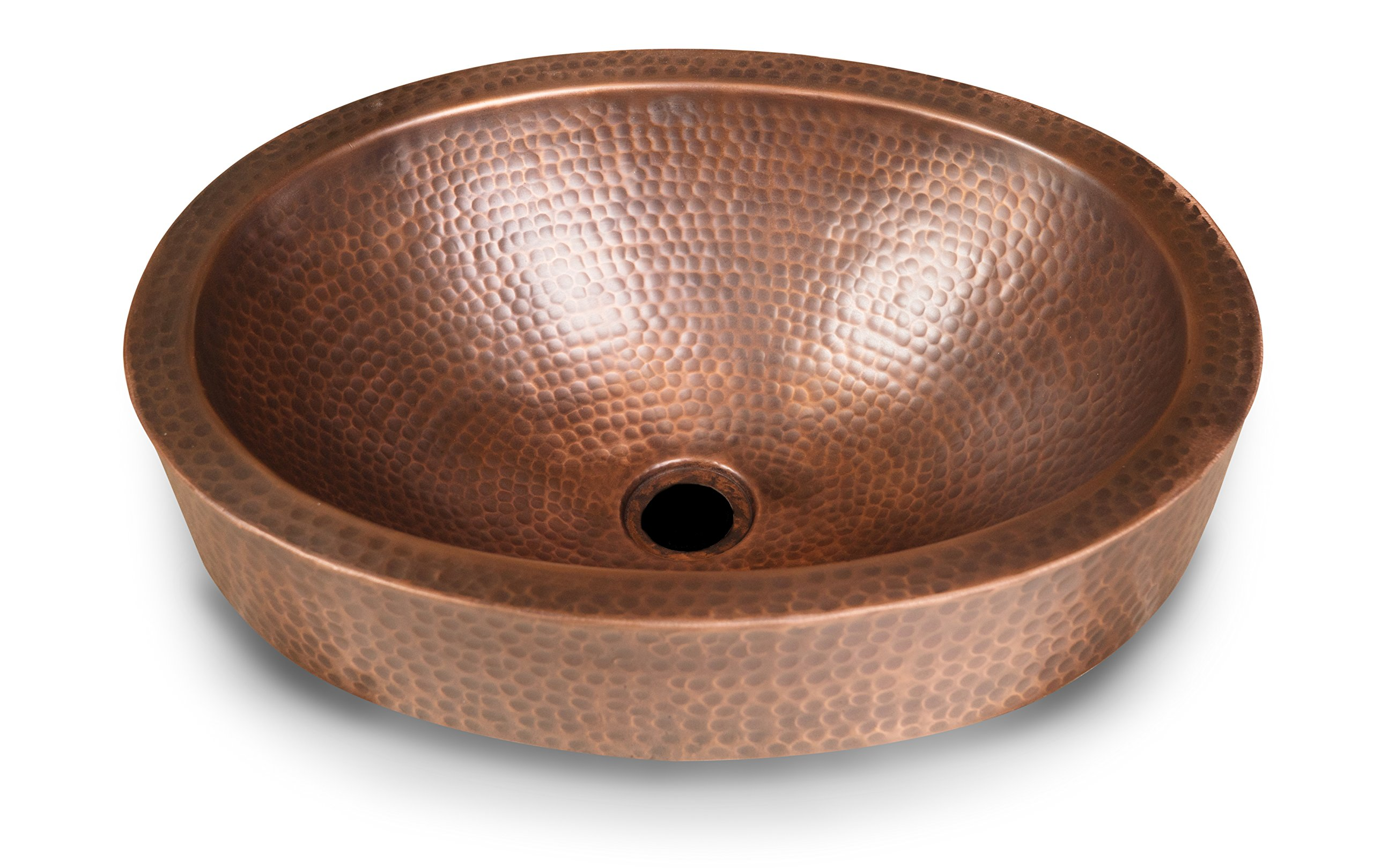 Monarch Pure Copper Hand Hammered Skirted Sink, 17 inches (Drop In or Vessel) by Monarch Abode